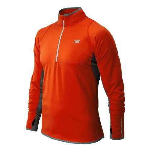 Mens New Balance NB Heat Long Sleeve 1/2 Zip Technical Tops - Fire Ball XL ...