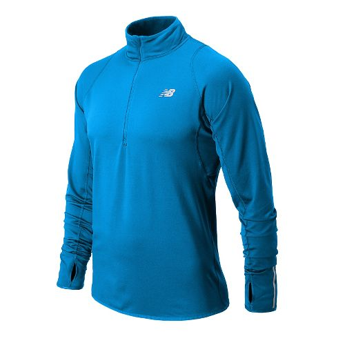 Mens New Balance NB Heat Long Sleeve 1/2 Zip Technical Tops - Laser Blue S ...