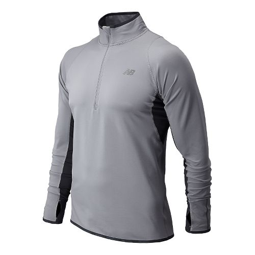 Mens New Balance NB Heat Long Sleeve 1/2 Zip Technical Tops - Silver Mink L ...