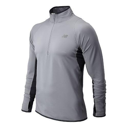 Mens New Balance NB Heat Long Sleeve 1/2 Zip Technical Tops - Silver Mink L ...