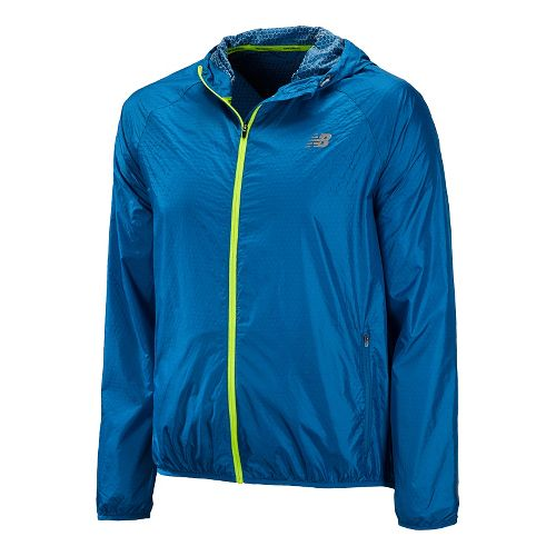 Mens New Balance Shadow Run Running Jackets - Laser Blue S