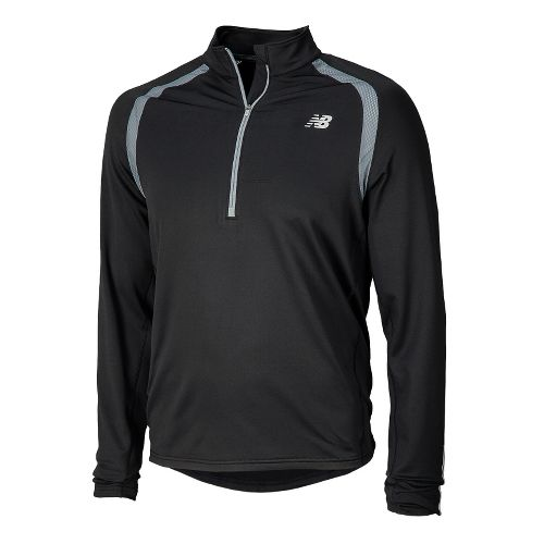 Mens New Balance Impact Long Sleeve 1/2 Zip Technical Tops - Black XL