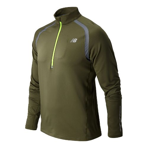 Mens New Balance Impact Long Sleeve 1/2 Zip Technical Tops - Combat M