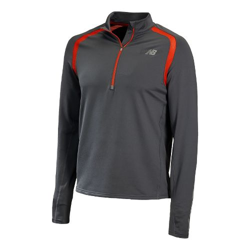 Mens New Balance Impact Long Sleeve 1/2 Zip Technical Tops - Fire Ball L