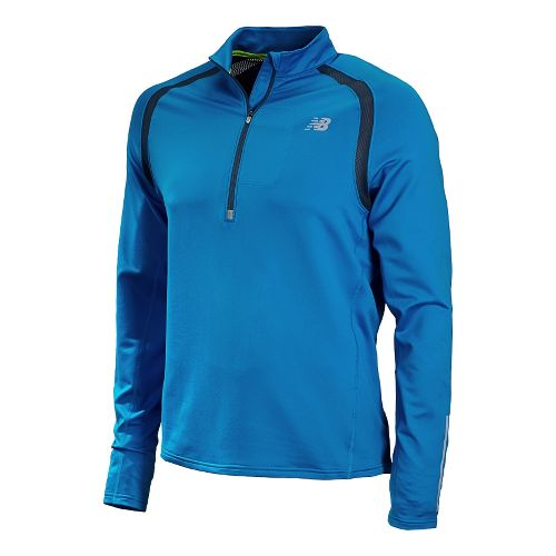 Mens New Balance Impact Long Sleeve 1/2 Zip Technical Tops - Laser Blue L