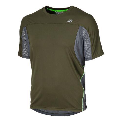 Mens New Balance NB Ice Short Sleeve Technical Tops - Combat M