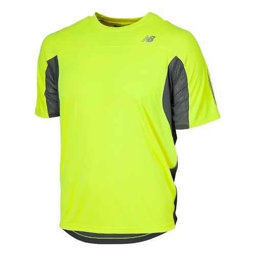 Mens New Balance NB Ice Short Sleeve Technical Tops - Hi-Lite XL