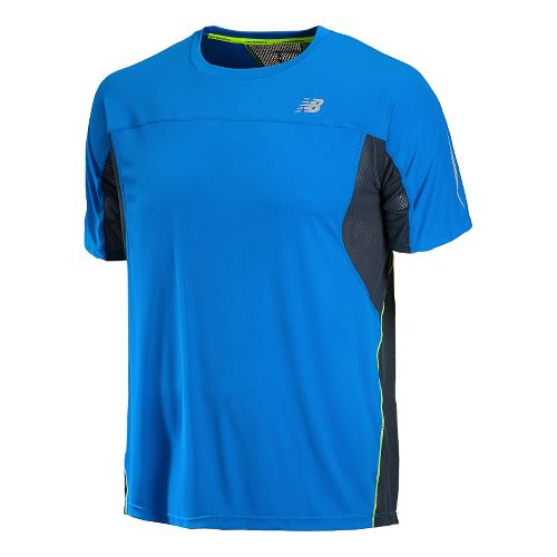Mens New Balance NB Ice Short Sleeve Technical Tops - Laser Blue L