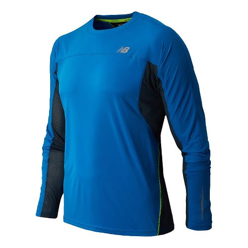 Mens New Balance NB Ice Long Sleeve No Zip Technical Tops - Laser Blue L ...