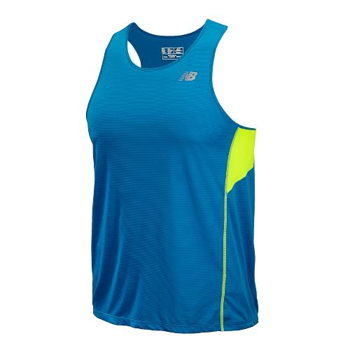 Mens New Balance Accelerate Singlets Technical Tops - Laser Blue M