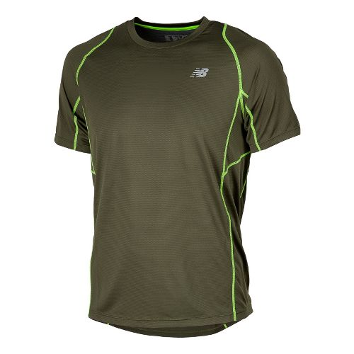 Mens New Balance Accelerate Short Sleeve Technical Tops - Combat S