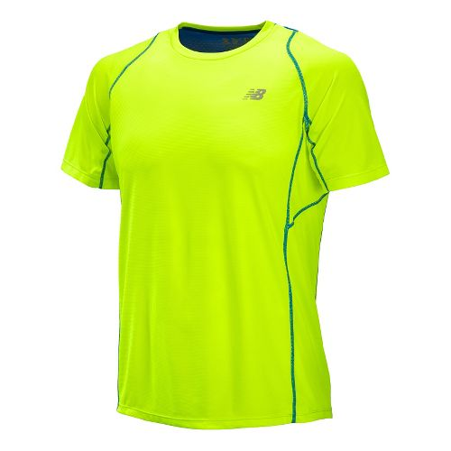 Mens New Balance Accelerate Short Sleeve Technical Tops - Hi-Lite M