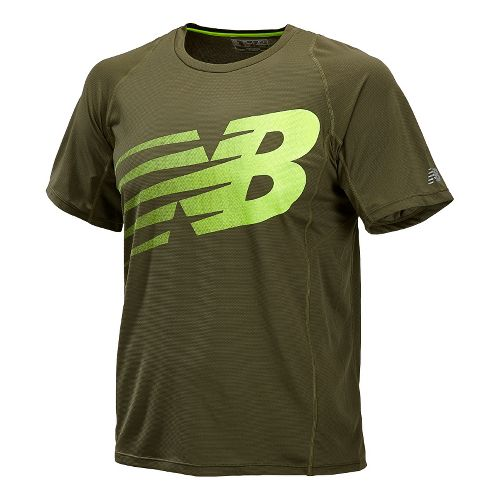 Mens New Balance Accelerate Graphic Short Sleeve Technical Tops - Combat S