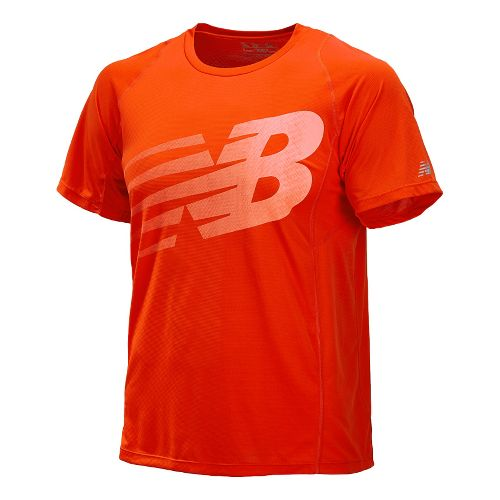 Mens New Balance Accelerate Graphic Short Sleeve Technical Tops - Fire Ball S