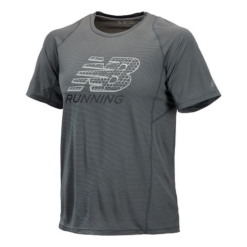 Mens New Balance Accelerate Graphic Short Sleeve Technical Tops - Lead S