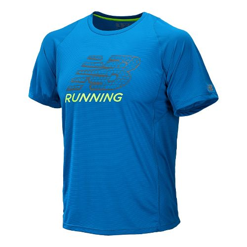Mens New Balance Accelerate Graphic Short Sleeve Technical Tops - Laser Blue L