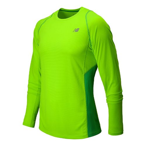 Mens New Balance Accelerate Long Sleeve Tee Technical Top - Chemical Green XL
