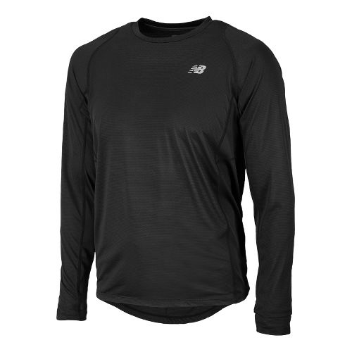 Mens New Balance Accelerate Tee Long Sleeve No Zip Technical Tops - Black XXL
