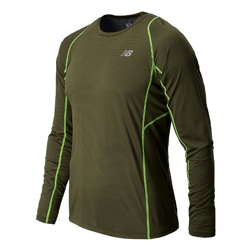 Mens New Balance Accelerate Tee Long Sleeve No Zip Technical Tops - Combat M