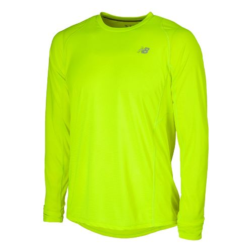 Mens New Balance Accelerate Tee Long Sleeve No Zip Technical Tops - Hi-Lite XL