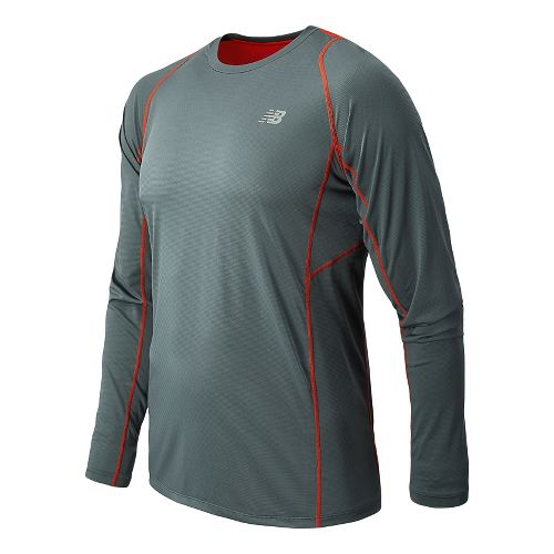 Mens New Balance Accelerate Tee Long Sleeve No Zip Technical Tops - Lead M