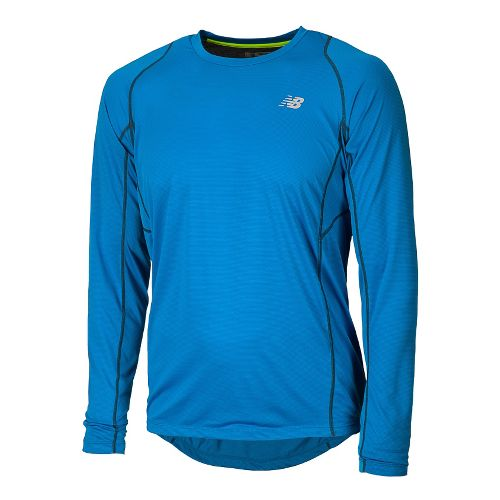 Mens New Balance Accelerate Tee Long Sleeve No Zip Technical Tops - Laser Blue S ...