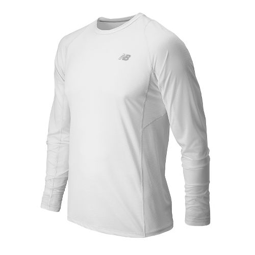 Mens New Balance Accelerate Tee Long Sleeve No Zip Technical Tops - White XXL
