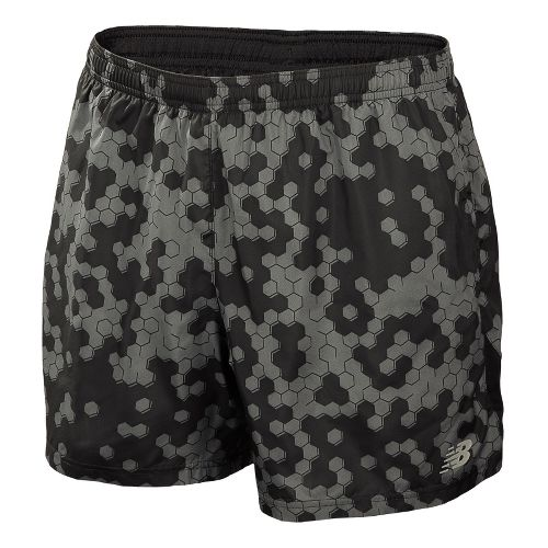 Mens New Balance 5 Go 2 Graphic Lined Shorts - Black L