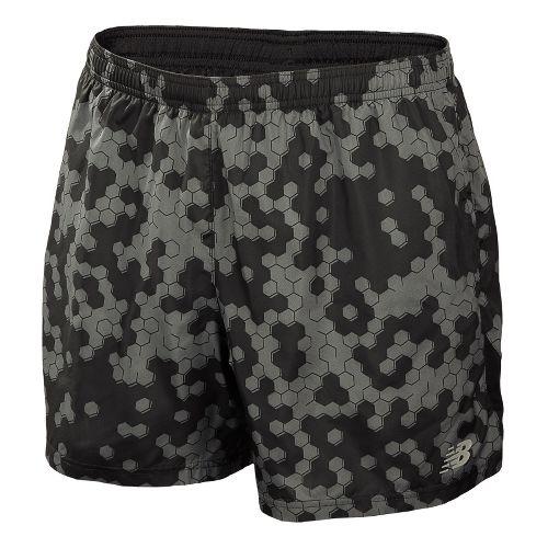 Mens New Balance 5 Go 2 Graphic Lined Shorts - Black M