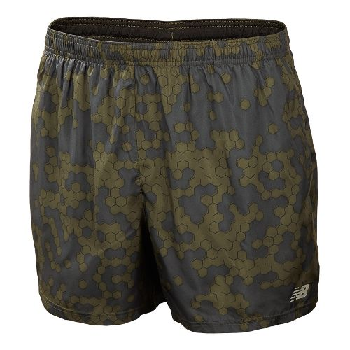 Mens New Balance 5 Go 2 Graphic Lined Shorts - Combat S