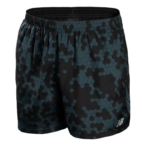 Mens New Balance 5 Go 2 Graphic Lined Shorts - Petrol M