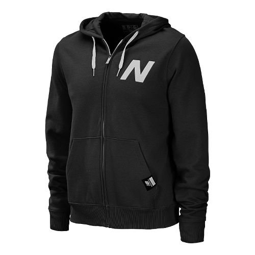 Mens New Balance Essentials Zip Up Hoodie Warm-Up Hooded Jackets - Black L