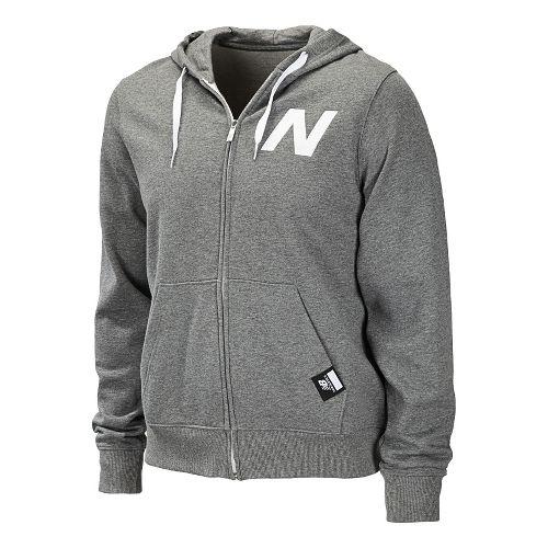Mens New Balance Essentials Zip Up Hoodie Warm-Up Hooded Jackets - Heather Grey XXL