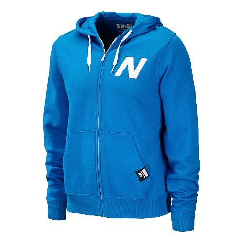 Mens New Balance Essentials Zip Up Hoodie Warm-Up Hooded Jackets - Laser Blue M