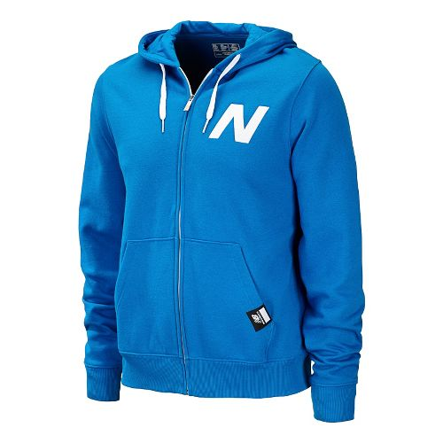 Mens New Balance Essentials Zip Up Hoodie Warm-Up Hooded Jackets - Laser Blue XS