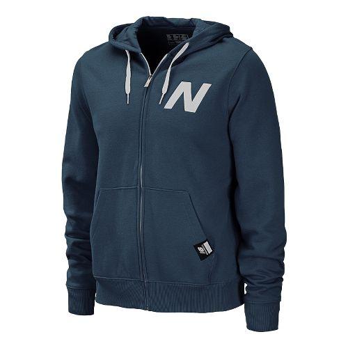 Mens New Balance Essentials Zip Up Hoodie Warm-Up Hooded Jackets - Navy XS
