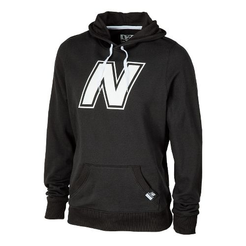 Mens New Balance Essentials Pullover Hoodie Warm-Up Hooded Jackets - Black L