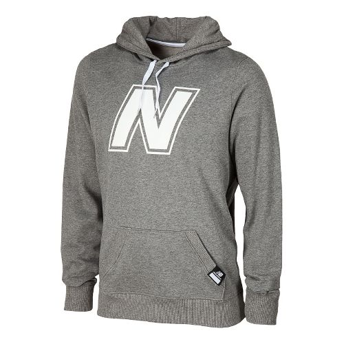 Mens New Balance Essentials Pullover Hoodie Warm-Up Hooded Jackets - Heather Grey L