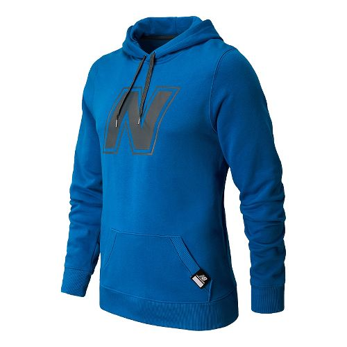 Mens New Balance Essentials Pullover Hoodie Warm-Up Hooded Jackets - Laser Blue XS
