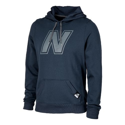 Mens New Balance Essentials Pullover Hoodie Warm-Up Hooded Jackets - Navy L