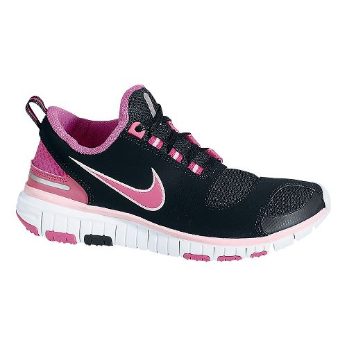 Childrens Nike Free 5.0 v2 Running Shoe - Black/Pink 6.5