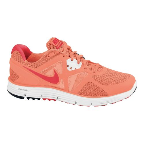 Womens Nike LunarGlide+ 3 Running Shoe - Mango/Red 8