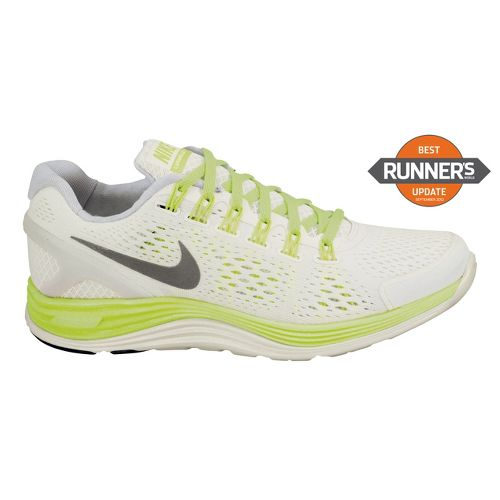 Womens Nike LunarGlide+ 4 Running Shoe - White/Neon 9.5