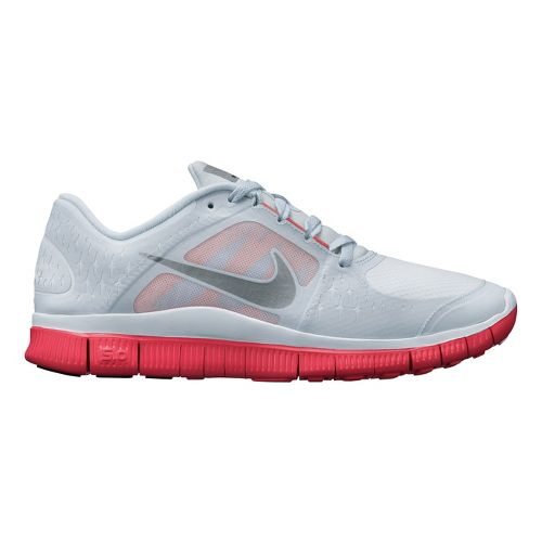 Womens Nike Free Run+ 3 Shield Running Shoe - Silver/Bright Crimson 9
