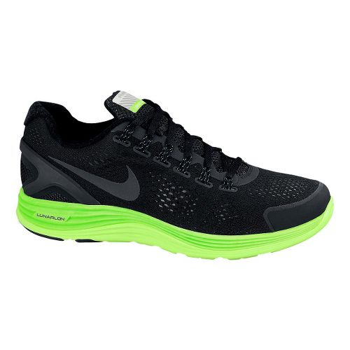 Mens Nike LunarGlide+ 4 Shield Running Shoe - Black/Lime 10.5