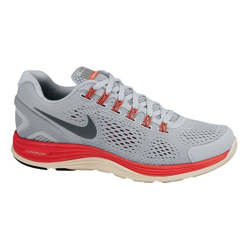 Womens Nike LunarGlide+ 4 Shield Running Shoe - Silver/Bright Crimson 7.5