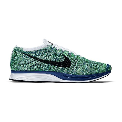 Nike Flyknit Racer Racing Shoe - Royal/Green 9.5