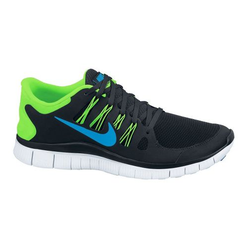 Mens Nike Free 5.0+ Running Shoe - Black/Lime 12.5