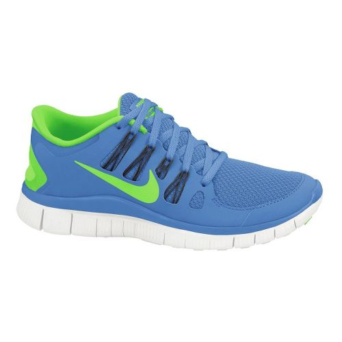Womens Nike Free 5.0+ Running Shoe - Blue/Lime 10.5