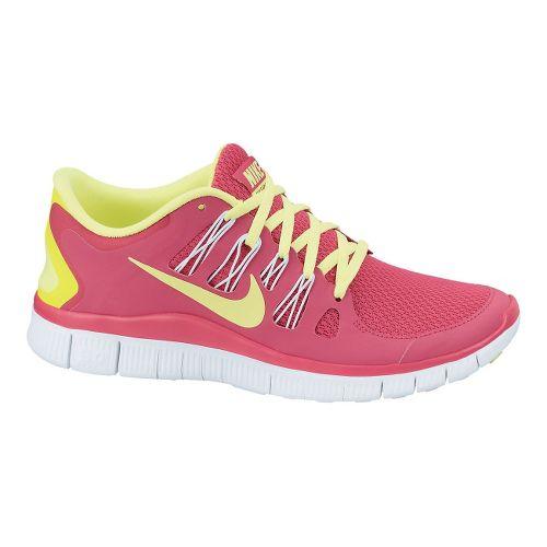 Womens Nike Free 5.0+ Running Shoe - Pink/Volt 7.5